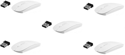 ReTrack 5PC 2.4Ghz Ultra Slim Wireless Wireless Optical Mouse USB, White
