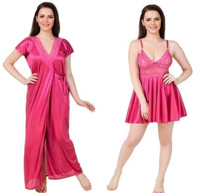 Bombshell Women Nighty with Robe(Pink) at flipkart