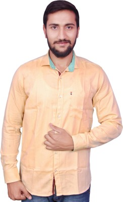 VINTAGE LOOK Men Solid Casual Yellow Shirt