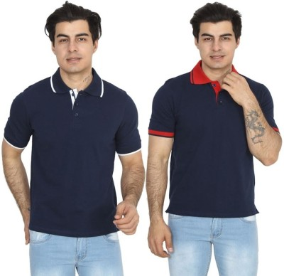 BrandTrendz Solid Men's Polo Neck Blue, Dark Blue T-Shirt(Pack of 2)