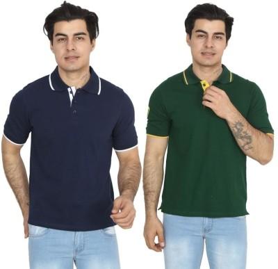 BrandTrendz Solid Men's Polo Neck Blue, Green T-Shirt(Pack of 2)
