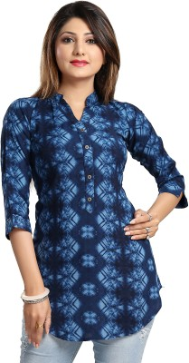 ALC Creations Casual 3/4th Sleeve Printed Women's Blue Top