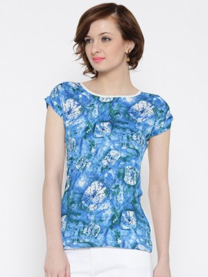 U F Casual Short Sleeve Printed Women Light Blue Top U F Women\'s Tops