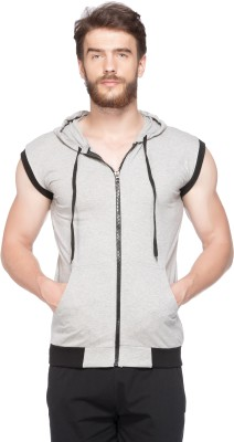 V3Squared Solid Men Hooded Grey, Black T-Shirt at flipkart