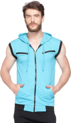 V3Squared Color block Men Hooded Light Blue, Black T-Shirt at flipkart