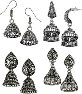 Zaveri Pearls Pack Of Four Finely Detailed Oxidised Zinc Jhumki Earring at flipkart