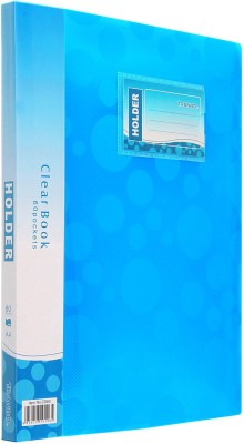 TRANBO Polypropylene Plastic Clear Book Plastic File Folder Display Presentation Book, 60 Pocket, A4 Size, Aqua(Set Of 1, Aqua)  available at flipkart for Rs.329