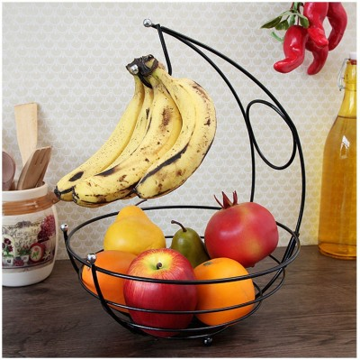EOAN INTERNATIONAL BANANA HOLDER Aluminium Fruit & Vegetable Basket(Black)