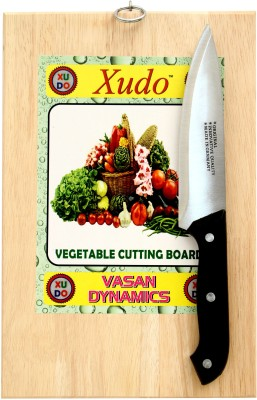 XUDO 20X30 Vegetable and fruit cutting/Chopping board with Knife Beige, Black Kitchen Tool Set(vegetable cutter)  available at flipkart for Rs.315
