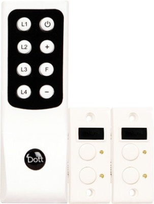 Dott Systems Dott Systems Remote Control Switch Non-Modular 3 Lights 1 Fan 5 One Way Electrical Switch(Pack of 3 Number of Switches - 4)