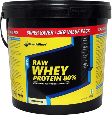 MuscleBlaze Raw Whey Protein (Unflavoured, 4KG)