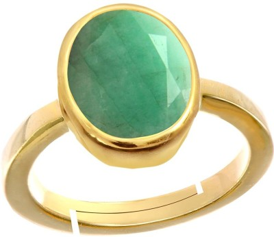 AJ 9.50 Ratti Natural Emerald (Panna) Adjustable ring Copper Emerald Copper Plated Ring at flipkart