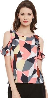 Athena Casual Short Sleeve Geometric Print Women Multicolor Top