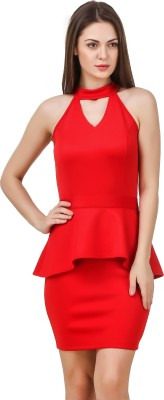 Texco Women Peplum Red Dress