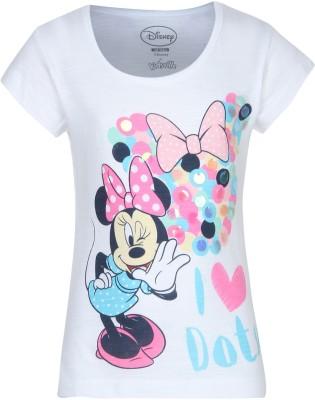 Mickey & Friends Girls Graphic Print Cotton Blend T Shirt(White, Pack of 1) at flipkart