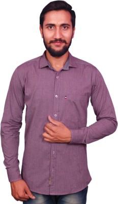 VINTAGE LOOK Men Solid Casual Purple Shirt