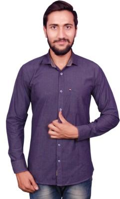 VINTAGE LOOK Men Solid Casual Grey Shirt