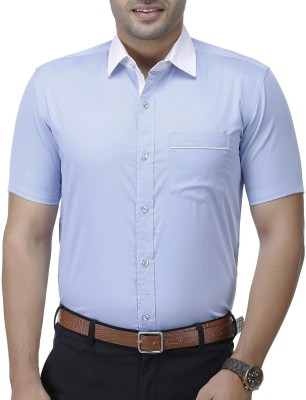 EL FIGO Men Solid Formal Light Blue Shirt