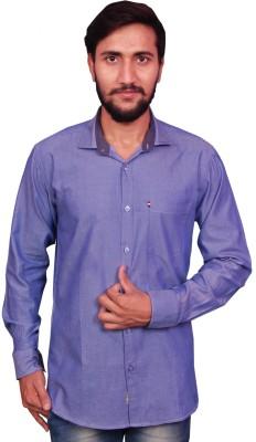 VINTAGE LOOK Men Solid Casual Light Blue Shirt