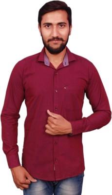 VINTAGE LOOK Men Solid Casual Maroon Shirt