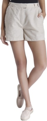 Vero Moda Solid Women Beige Basic Shorts at flipkart