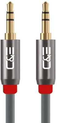 C&E  TV-out Cable Aux Audio Cable (1.5 Feet) Premium with 3.5mm Male to Male Gold Plated Connectors for Headphones, Mobile phones, Home, Car Stereos and More Grey (4 Pack)(Grey, For Computer)