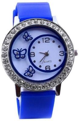 LEBENSZEIT DIAMOND STUDDED DESIGNER BLUE BUTTERFLY LATEST FESTIVE COLLECTION Watch  - For Girls