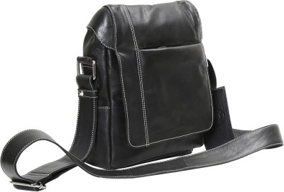 OHM New York OHM Leather New York Classic Soft Flight Bag in Italian Black Messenger Bag(Black, 12) at flipkart