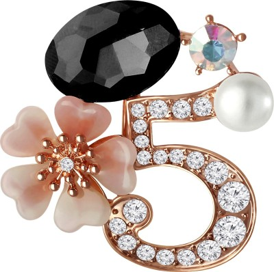 cd74395b5 Spargz New Design Number 5 Crystal Flower AD Stone Fashion Elements Pins  For Women Brooch ( Black )