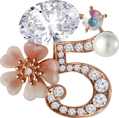 369ac63e0 Spargz Number 5 Crystal Flower AD Stone Fashion Elements Pins For Women  Brooch ( Gold )