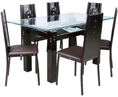 parin Glass 6 Seater Dining Set(Finish Color - brown)