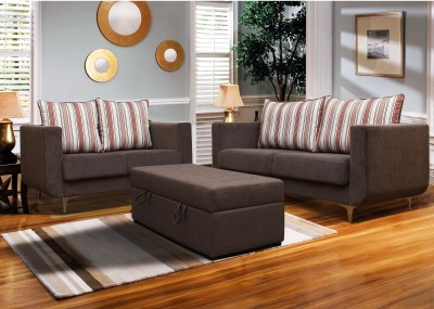 Peachtree Fabric 3 + 2 Grey Sofa Set
