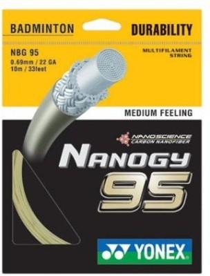 Yonex Nanogy 95 Badminton Strings 0.69 Badminton String   10 m White, Gold