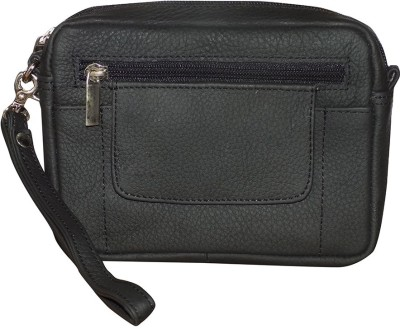 Kan Black Genuine Leather Waist Bag/Travel Organizer for Men Black Kan Travel Organizers