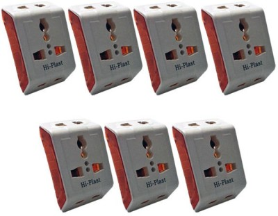 Hi-Plast 3 Pin Universal Multiplug Socket Connector -7pcs Worldwide Adaptor(White)  available at flipkart for Rs.475