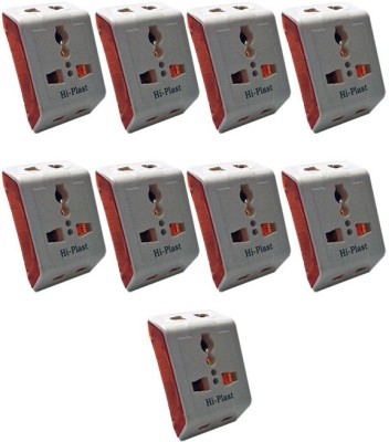 Hi-Plast 3 Pin Universal Multiplug Socket Connector -9pcs Worldwide Adaptor(White)  available at flipkart for Rs.555