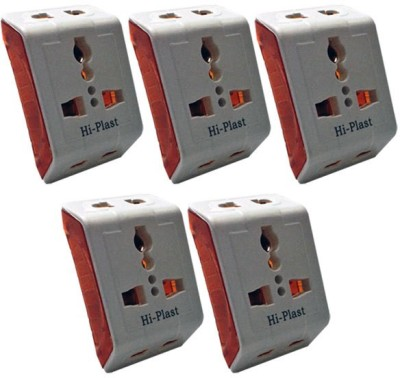 Hi-Plast 3 Pin Universal Multiplug Socket Connector -5pcs Worldwide Adaptor(White)  available at flipkart for Rs.395
