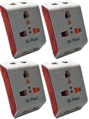 Hi-Plast 3 Pin Universal Multiplug Socket Connector -4pc Worldwide Adaptor(White)  available at flipkart for Rs.349