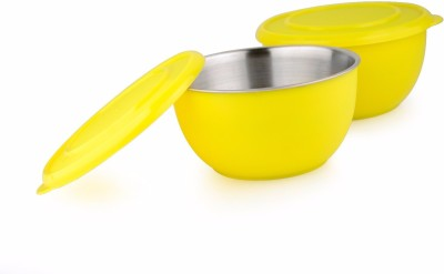 LIEFDE MICROWAVE SAFE BOWLS Stainless Steel Bowl Set(Yellow, Pack of 2) at flipkart