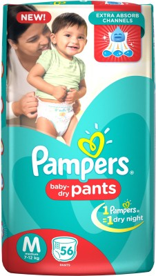 Pampers Medium Size Diapers Pants - 56 Count