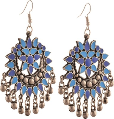 Zephyrr Fashion German Silver Afghani Dangler Hook Chandbali Earrings Alloy Dangle Earring at flipkart