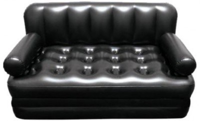 Shrih 5 in 1 Air Bed Couch PVC 3 Seater Inflatable Sofa(Color - Black)