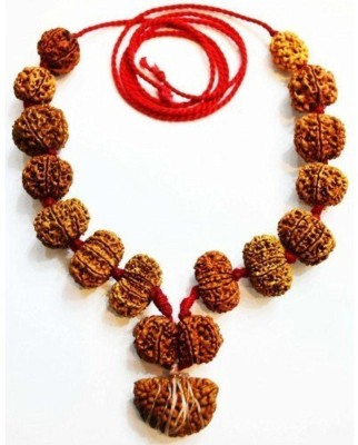 AJ Siddha Rudraksha Mala 25MM (1-14 Mukhi, Ganesh and Gauri Shankar) Silk Dori Necklace at flipkart