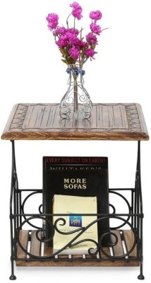 Onlineshoppee Wood & Iron Metal End Table(Finish Color - Antique Brown)
