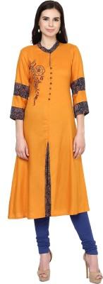 Shakumbhari Solid Women A-line Kurta(Orange)
