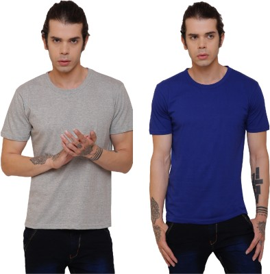Glamz Solid Men Round Neck Grey T-Shirt(Pack of 2)