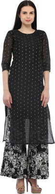 Cottinfab Women Self Design Straight Kurta(Black) at flipkart