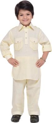 AJ Dezines Boys Festive & Party Pathani Suit Set(Beige Pack of 1)