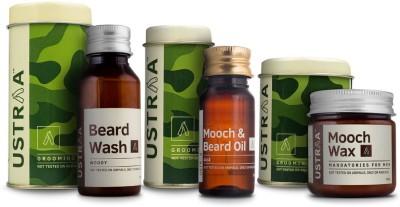 Ustraa By Happily Unmarried Mooch and Beard Oil 4x4 For Men (35 ml) Mooch Wax for Men (100 gm) Beard Wash for Men (60 ml)(Set of 3)