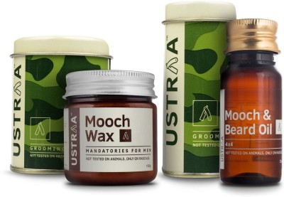 Ustraa By Happily Unmarried Mooch and Beard Oil 4x4 For Men (35 ml) Mooch Wax for Men (100 gm)(Set of 2)